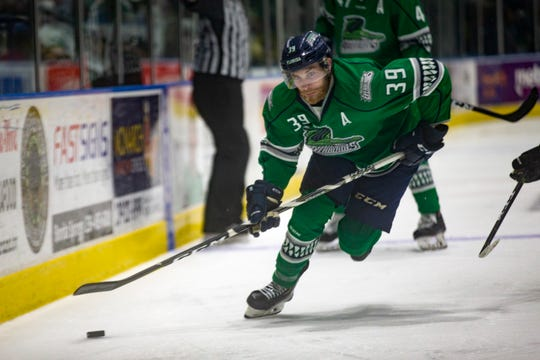 Florida Everblades goalie Callum Booth moves the puck during Game 1 of the ECHL Eastern Conference Finals against Newfoundland Growlers, Friday, May 10, 2019, at Hertz Arena in Estero.
