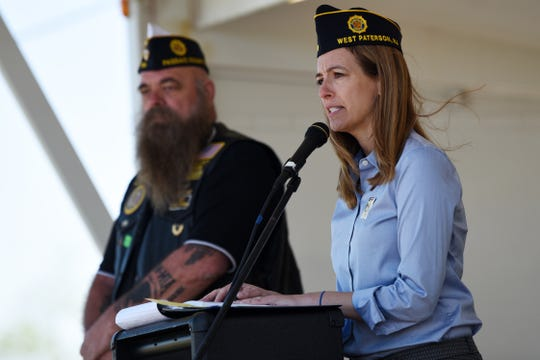 The dedication ceremony of the Traveling Vietnam Memorial Wall comes to Woodland Park on Saturday May 11, 2019. (From left) John Swank, Commander with the American Legion Post 174 and U.S. Congresswoman Mikie Sherrill.