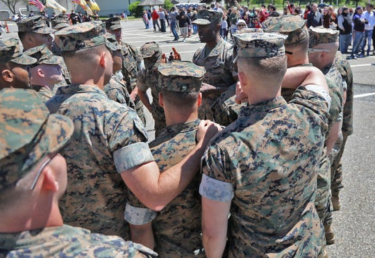 Units get final instructions before they are dismissed. They are among 165 Marines as they arrive at Picatinny Arsenal to be reunited with family and friends on May 11, 2019, after serving in Afghanistan.