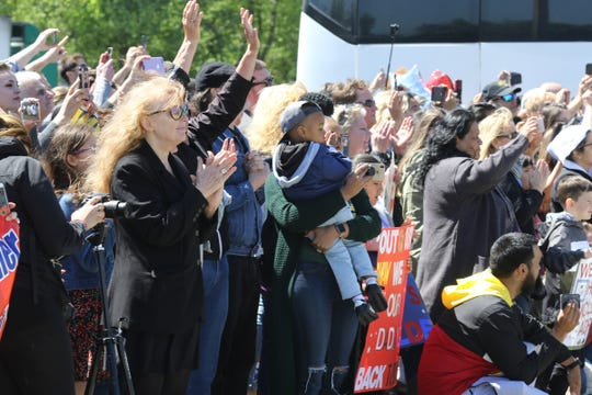 Family and friends cheer as the buses carrying 165 Marines arrive at Picatinny Arsenal to be reunited with family and friends on May 11, 2019, after serving in Afghanistan.