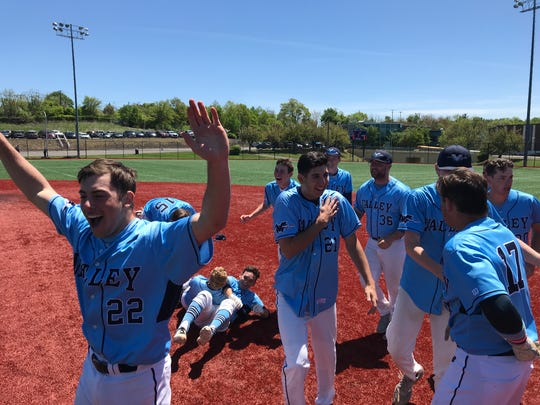 Wayne Valley baseball players celebrate after rallying from a 4-0, seventh-inning deficit to defeat Passaic Tech, 5-4, in the Passaic County semifinals on Saturday, May 11, 2019.