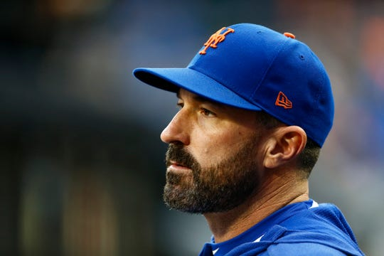 New York Mets manager Mickey Callaway looks on prior to a game against the Miami Marlins on Friday, May 10, 2019, in New York.