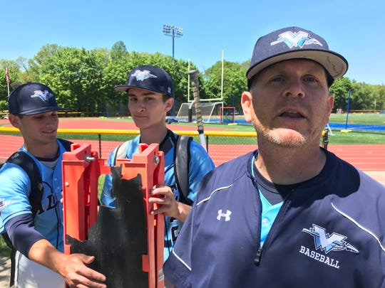 Wayne Valley coach Jeff Hoover inspired his players' run to the Passaic County baseball final with an impassioned dugout display earlier this month. The Indians brought that display (a broken sandwich-board sign) with them to Saturday's semifinal game at Passaic Tech.