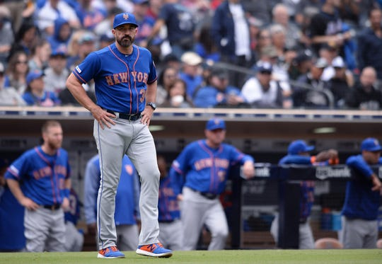 New York Mets manager Mickey Callaway (36) looks on from the field during the fifth inning against the San Diego Padres at Petco Park May 8, 2019