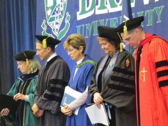 Former New Jersey Governor Christine Todd Whitman, center, at at Drew University in Madison for Commencement 2019 exercises inside at the Simon Forum. May 11, 2019.