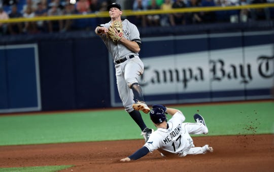 May 10, 2019; St. Petersburg, FL, USA;New York Yankees second baseman DJ LeMahieu (26) forces out Tampa Bay Rays right fielder Austin Meadows (17) and throws the ball to first base for a double play during the seventh inning at Tropicana Field.