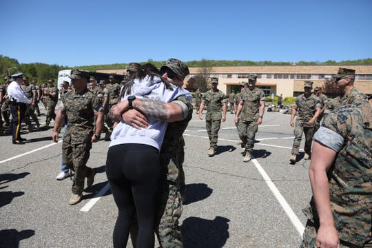 Family and friends to find their loved ones among 165 Marines as they arrive at Picatinny Arsenal to be reunited with family and friends on May 11, 2019, after serving in Afghanistan.