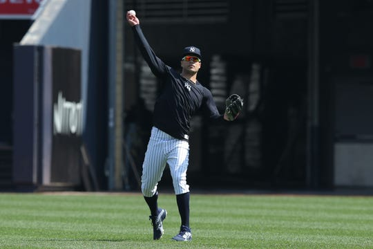 Yankees injured outfielder Giancarlo Stanton has been hitting and doing outfield work at the Yankees' minor league complex this weekend.
