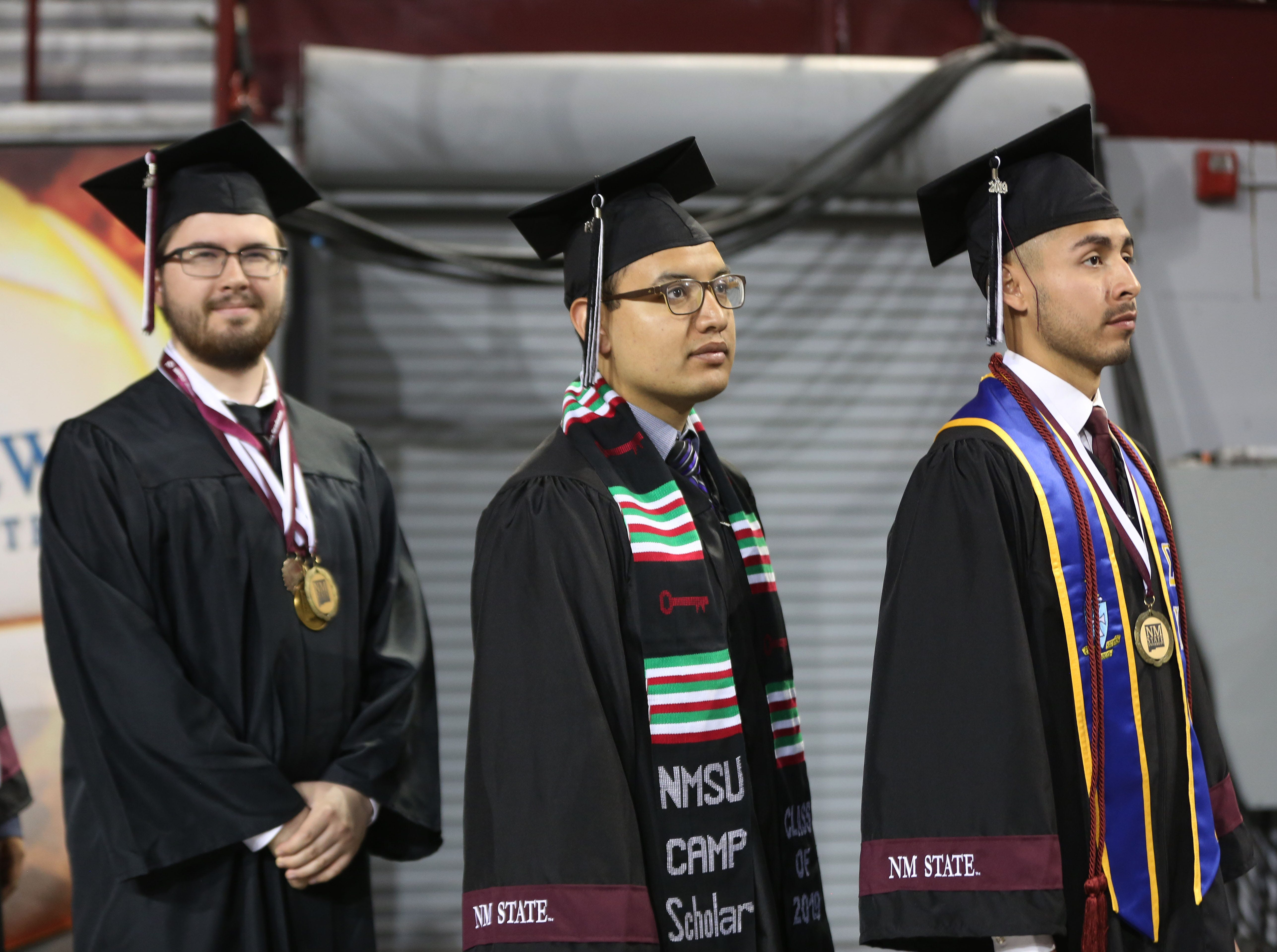 Students wait to be seated for graduation at New Mexico State Universities commencement ceremony Saturday May 11, 2019.