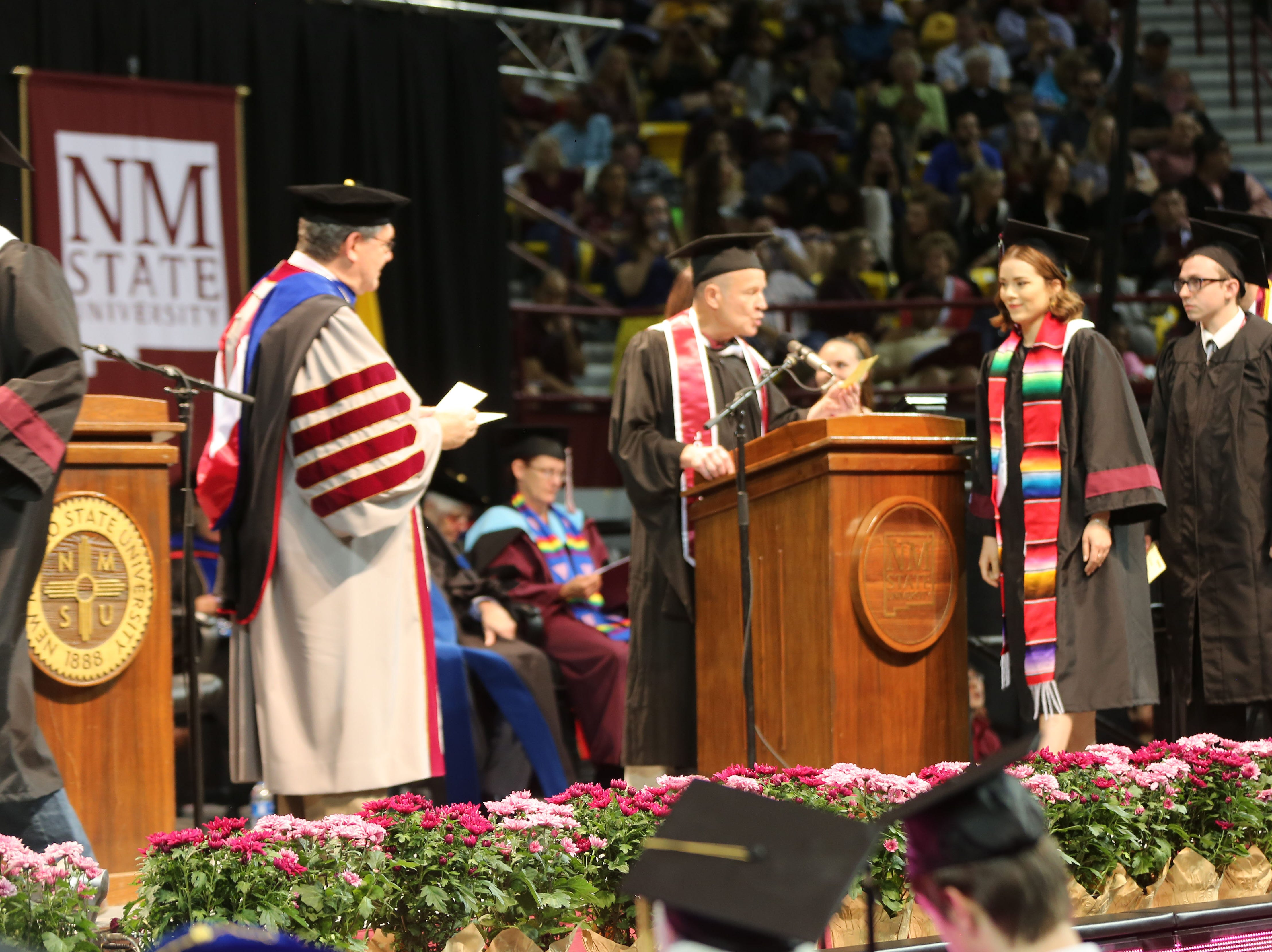 This year, New Mexico State University, awarded 438 master's degrees. Student's accepted their degrees during two commencement ceremonies, Saturday May 11, 2019.