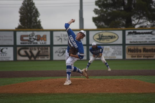 Robert Nidy pitches for Carlsbad during the Cavemen's 7-6 win over Hobbs Friday night at Veterans Memorial Complex in Hobbs.