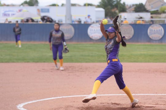 Kirtland Central's Nalaney Paul throws a pitch during Saturday's 4A state softball playoff game at Los Lunas.