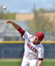 Westland John Glenn pitcher Chad Stevens pitches in their May 10, 2019 game against Northville. Stevens took a no-hitter into the fifth inning.