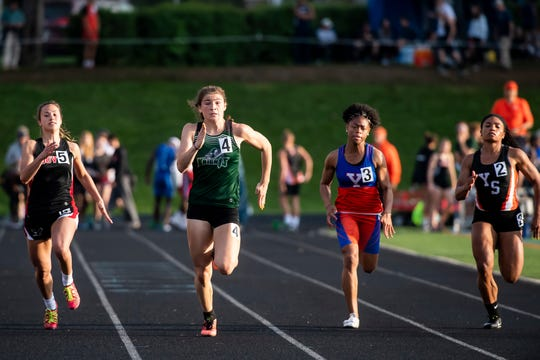 Fairfield's Milly Heinbaugh, second from left, runs to first-place finish in the girls' 100m dash during the 2019 YAIAA Track and Field Championships at Dallastown High School Friday, May 10, 2019. Heinbaugh won with 12.56.2.