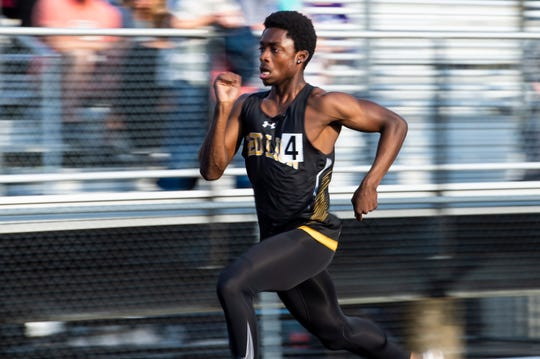 Red Lion's Jerome Jessup competes in the boys' 100m dash trials during the 2019 YAIAA Track and Field Championships at Dallastown High School Friday, May 10, 2019. Jessup won the 100m dash (10.78), the 200m dash (21.84) and helped lead the Lion's to gold in the 4x100m and 4x400m relays.
