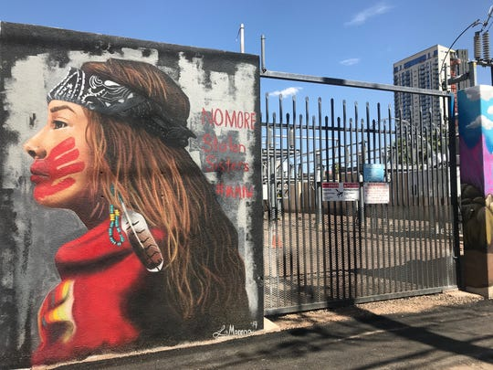 Lucinda Hinojos' section of the mural represents missing and murdered indigenous women and girls is behind The Churchill near First and McKinley streets on Saturday, May 11, 2019.