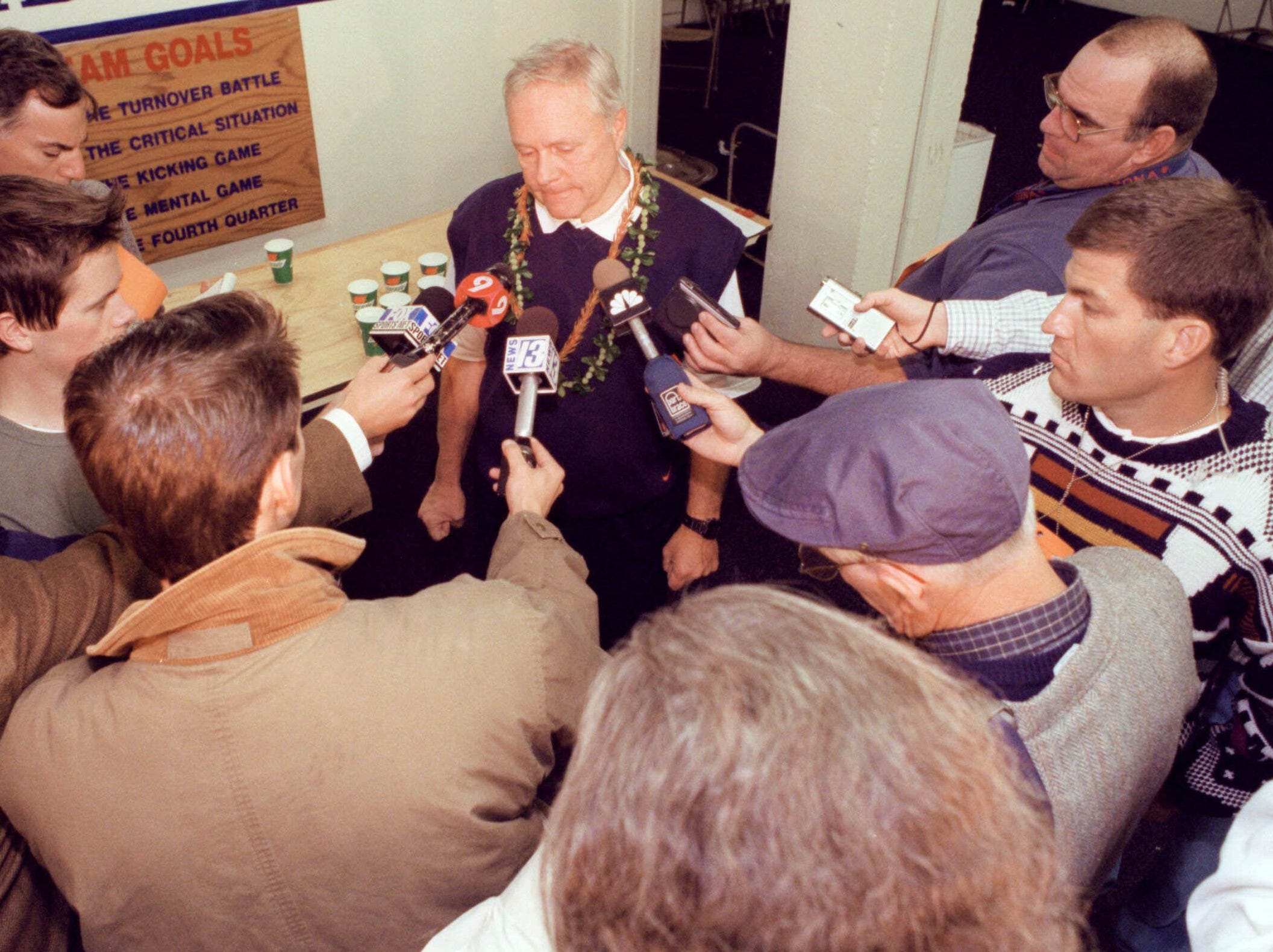 Arizona coach Dick Tomey fields questions after resigning moments after Arizona's 30-17 loss to Arizona State on Nov. 24, 2000