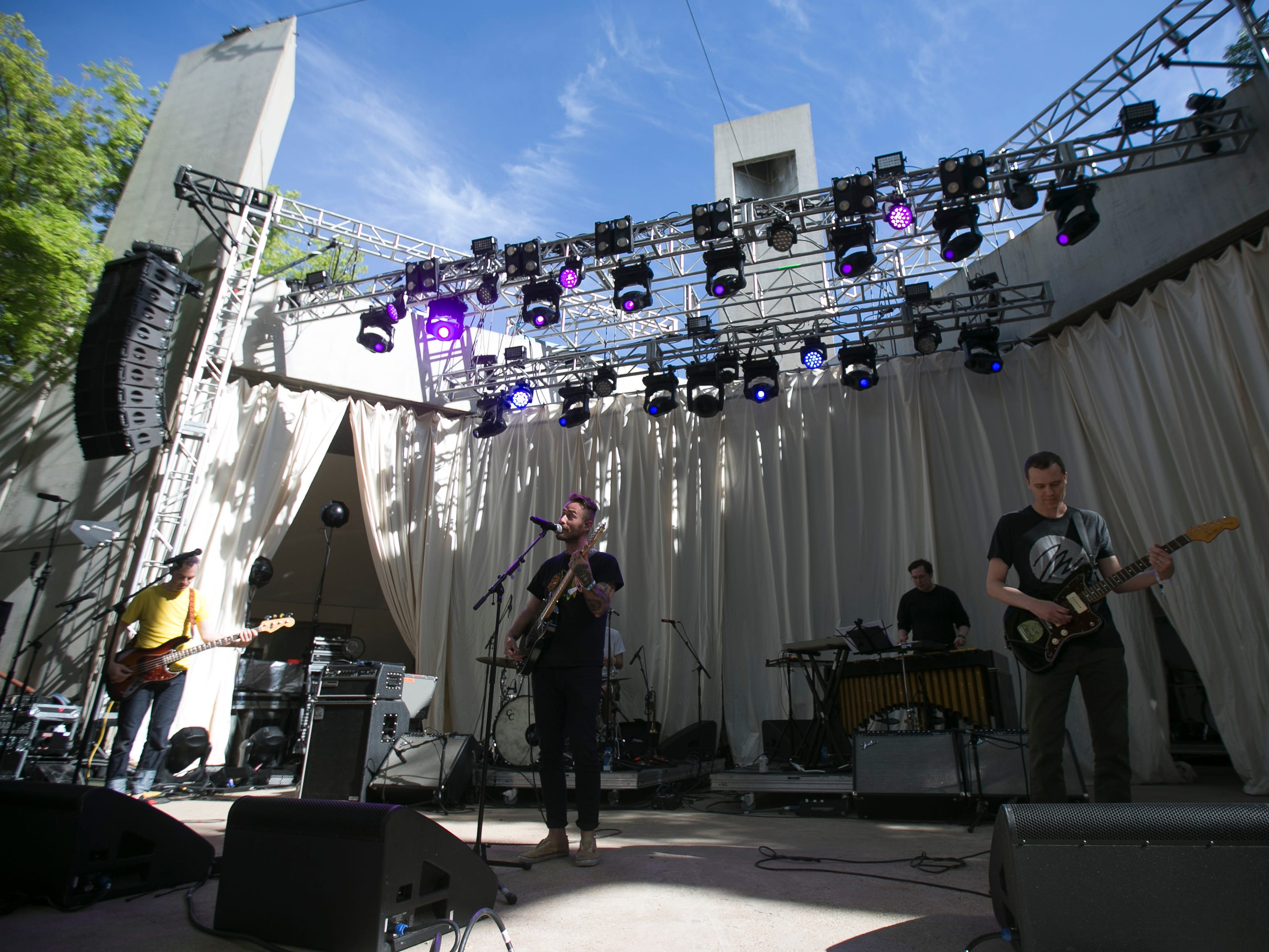 American Football performs on the main stage at the 2019 FORM Arcosanti music festival near Camp Verde, Arizona, on May 10, 2019.