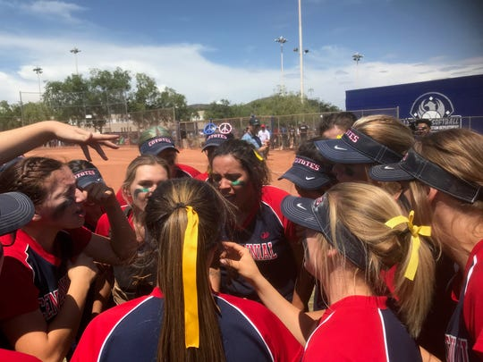 Centennial prepares for their game, Saturday, May 11, 2019.