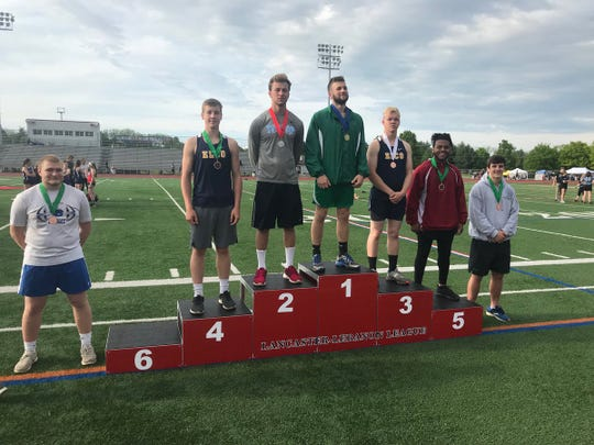 Elco's Brenden Nauman and Ben Horst finished third and fourth, respectively, in the javelin at the L-L meet on Friday.