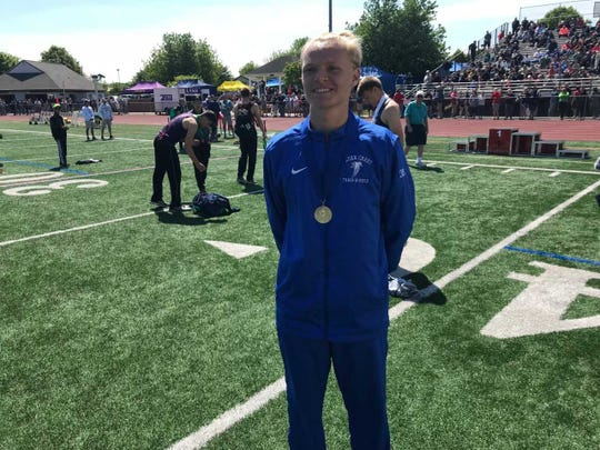 Alex Miller of Cedar Crest captured the 110 high hurdles title at Saturday's Lancaster-Lebanon League Championships.