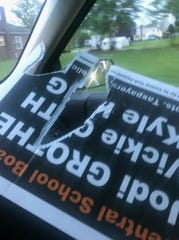 A Central York School District school board campaign flier was torn up (Photo courtesy of Joe Gothie).