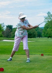Janet Pope achieves her goal of teeing off on her 90th birthday Saturday, May 11, 2019 at the Out Door Country Club in Manchester Township.