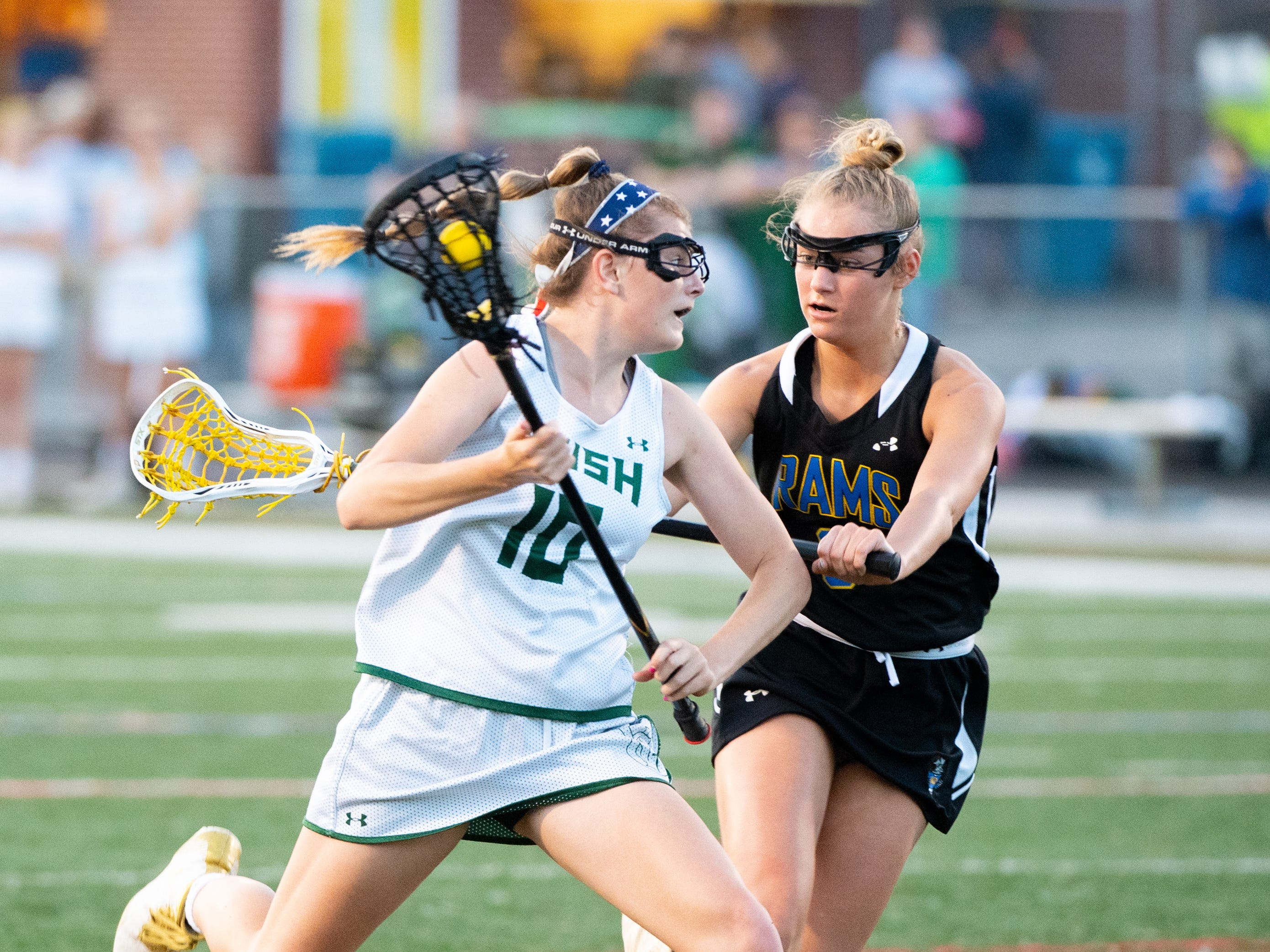 Sydney Mentzer (10) tries to evade the defense during the YAIAA girls lacrosse championship game between York Catholic and Kennard-Dale, May 10, 2019 at Eastern York High School. The Rams defeated the Fighting Irish 11 to 10.