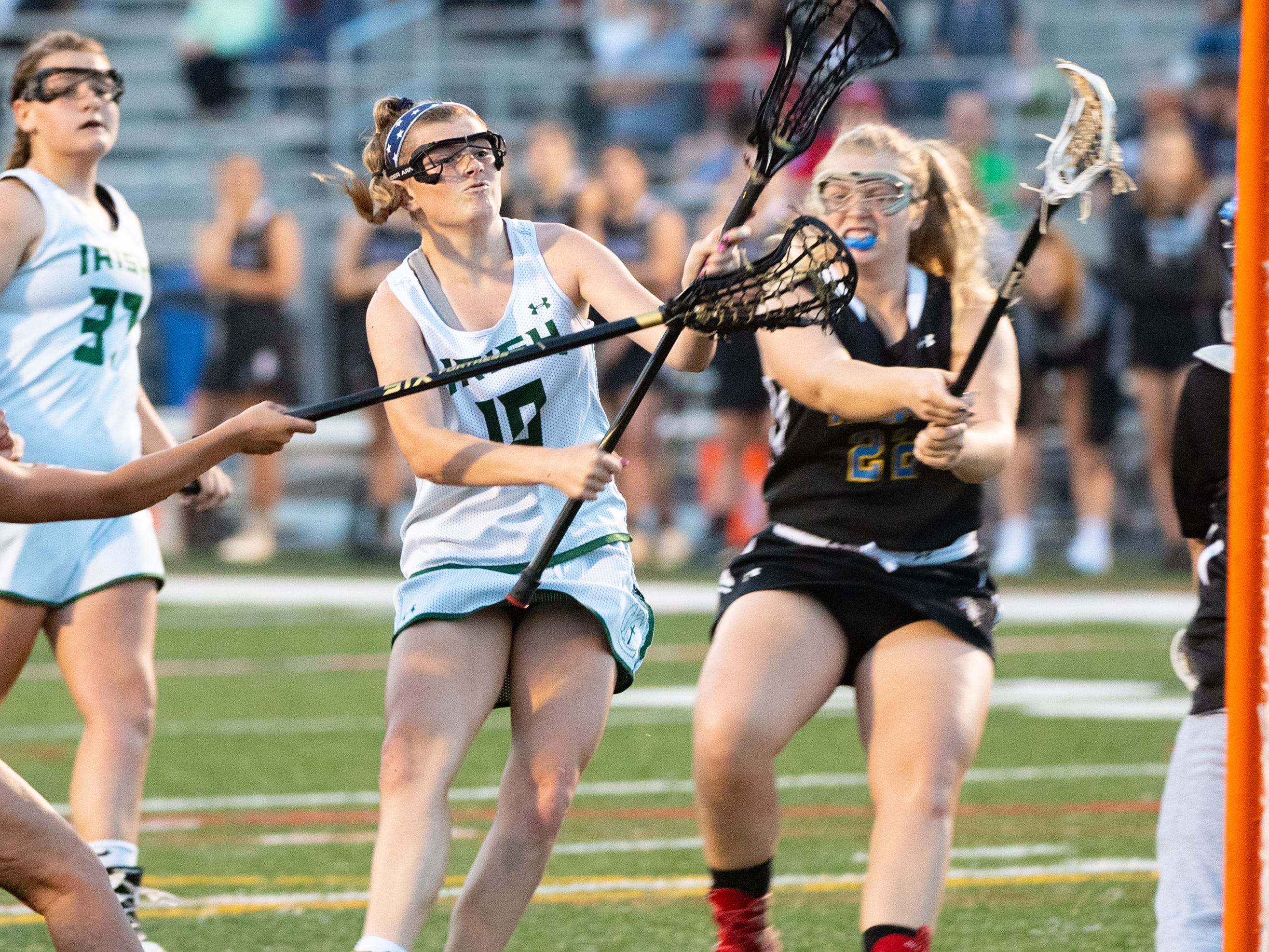 Sydney Mentzer (10) shoots during the YAIAA girls lacrosse championship game between York Catholic and Kennard-Dale, May 10, 2019 at Eastern York High School. The Rams defeated the Fighting Irish 11 to 10.