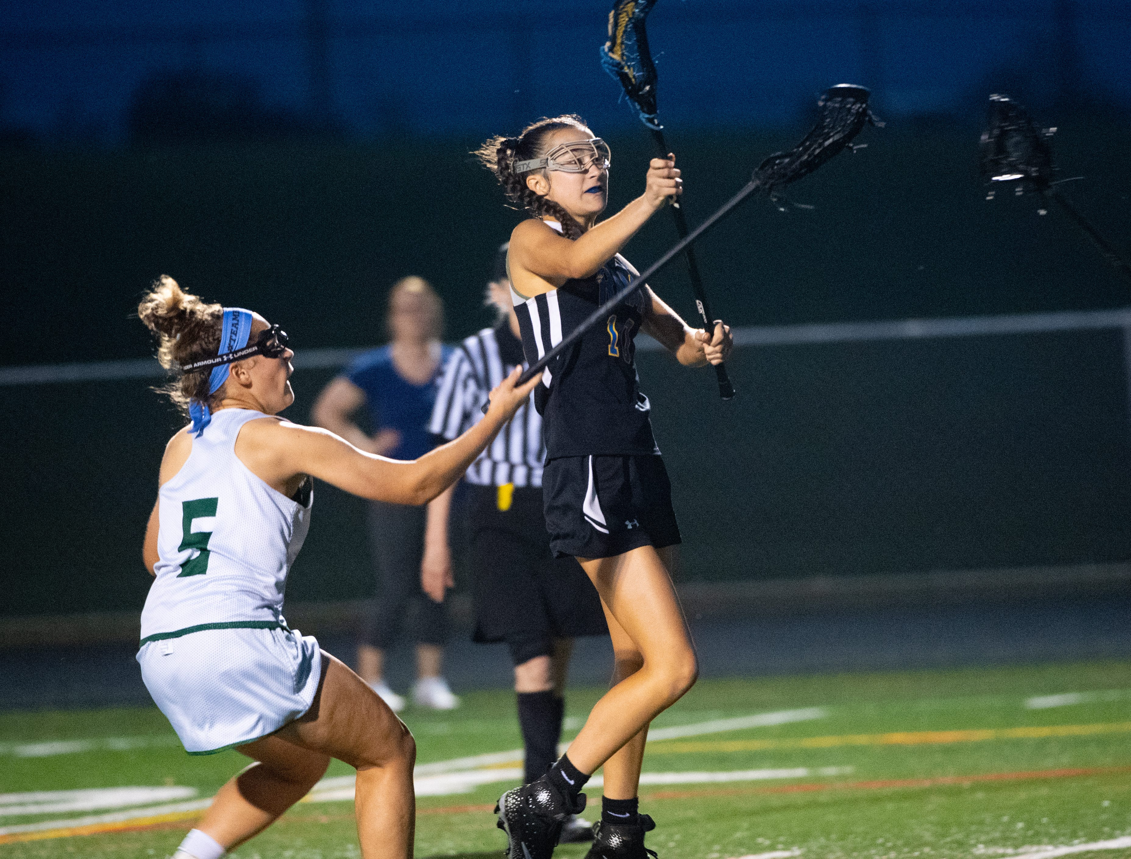 Amelie Gamache (10) passes during the YAIAA girls lacrosse championship game between York Catholic and Kennard-Dale, May 10, 2019 at Eastern York High School. The Rams defeated the Fighting Irish 11 to 10.