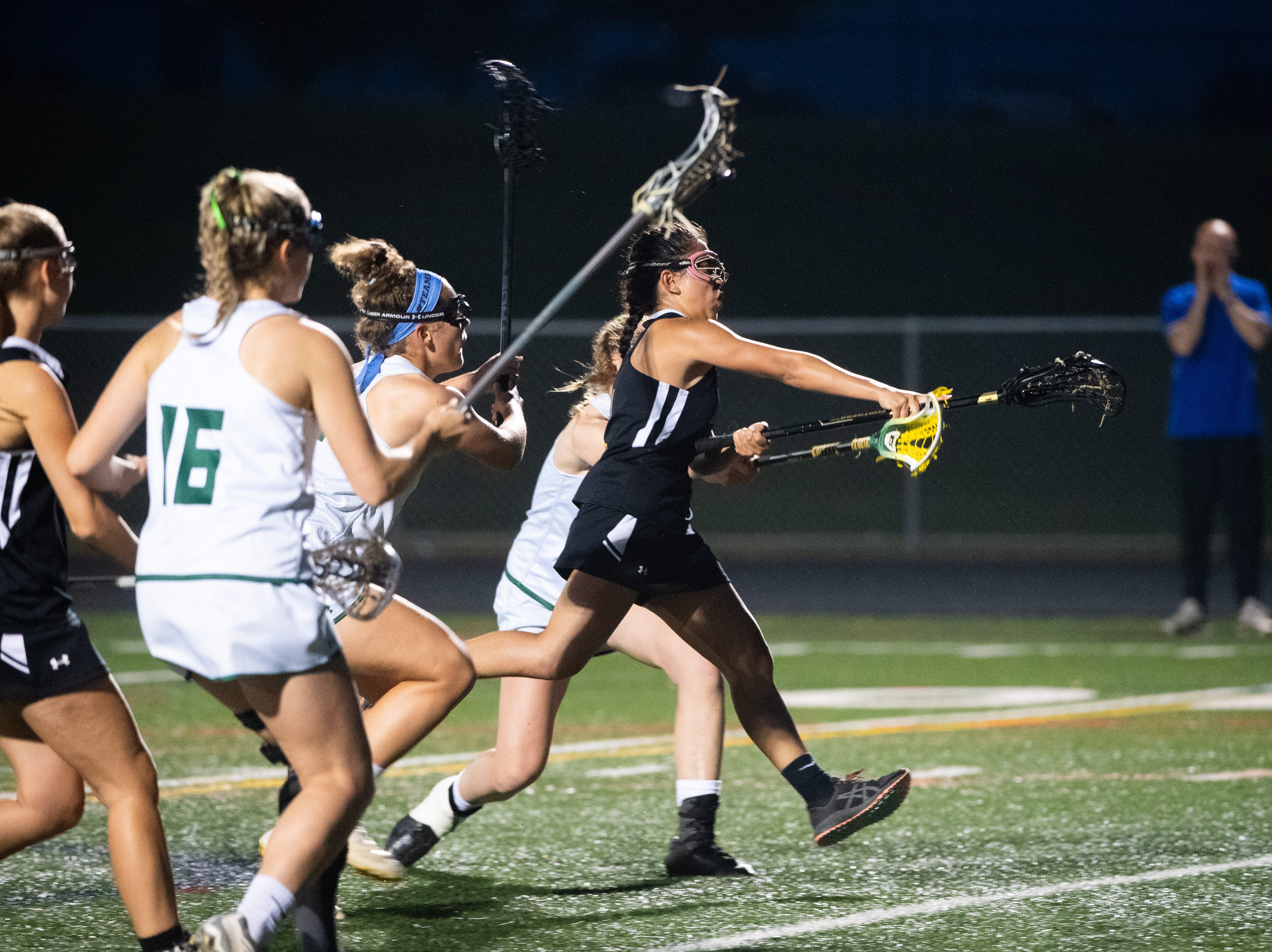 Jenna Soukaseum (1) slings the ball at goal during the YAIAA girls lacrosse championship game between York Catholic and Kennard-Dale, May 10, 2019 at Eastern York High School. The Rams defeated the Fighting Irish 11 to 10.
