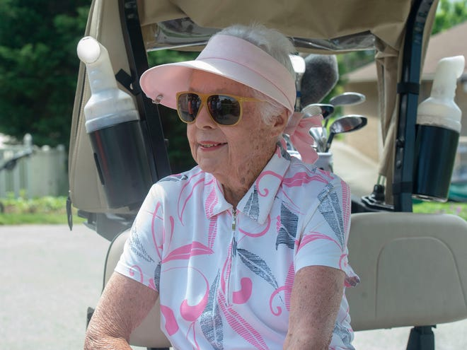 Janet Pope catches a ride to the 10th tee at the Out Door Country Club in Manchester Township on Saturday, May 11, 2019.