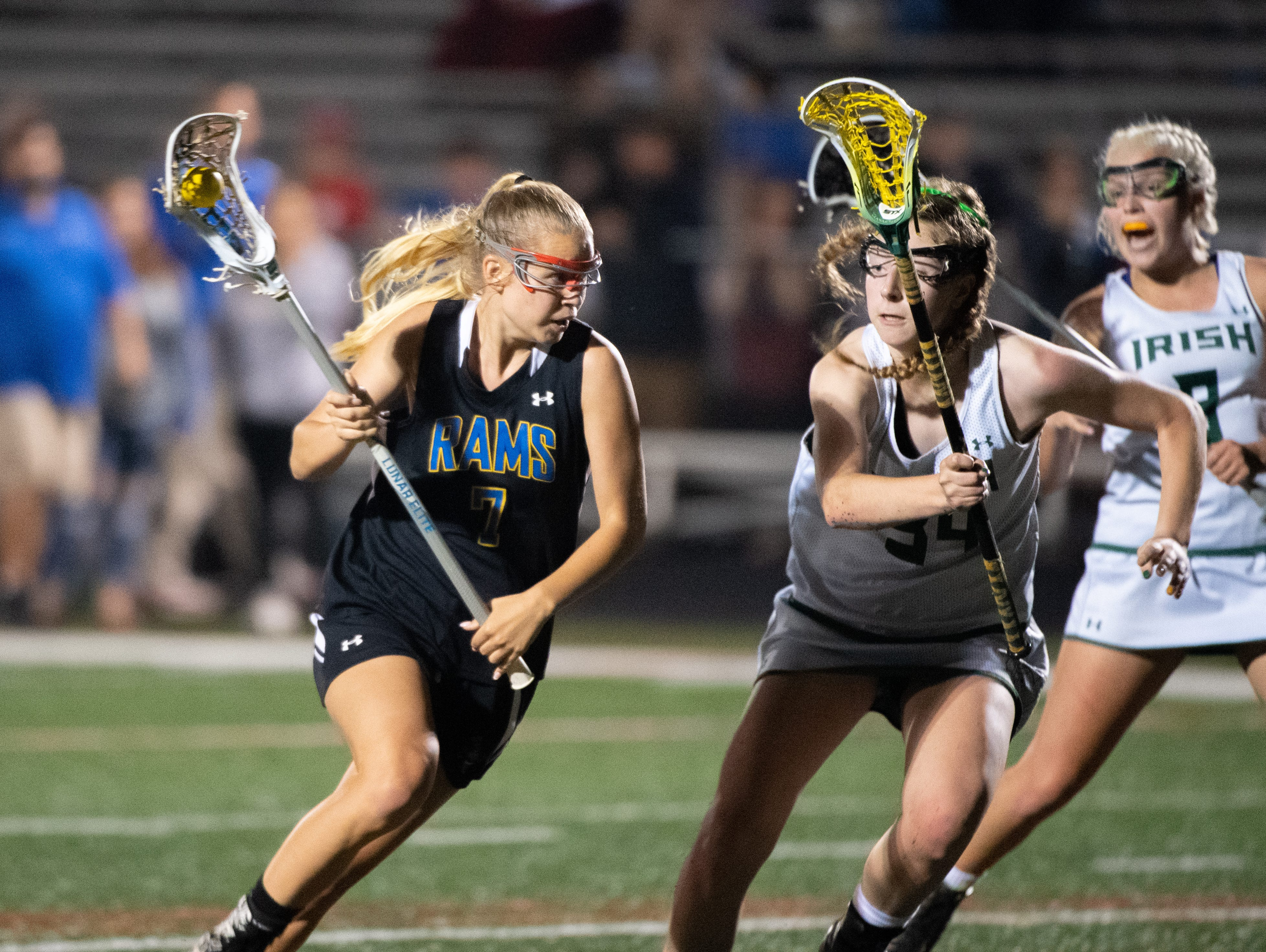 Chloe Fornoff (7) looks for an opening during the YAIAA girls lacrosse championship game between York Catholic and Kennard-Dale, May 10, 2019 at Eastern York High School. The Rams defeated the Fighting Irish 11 to 10.