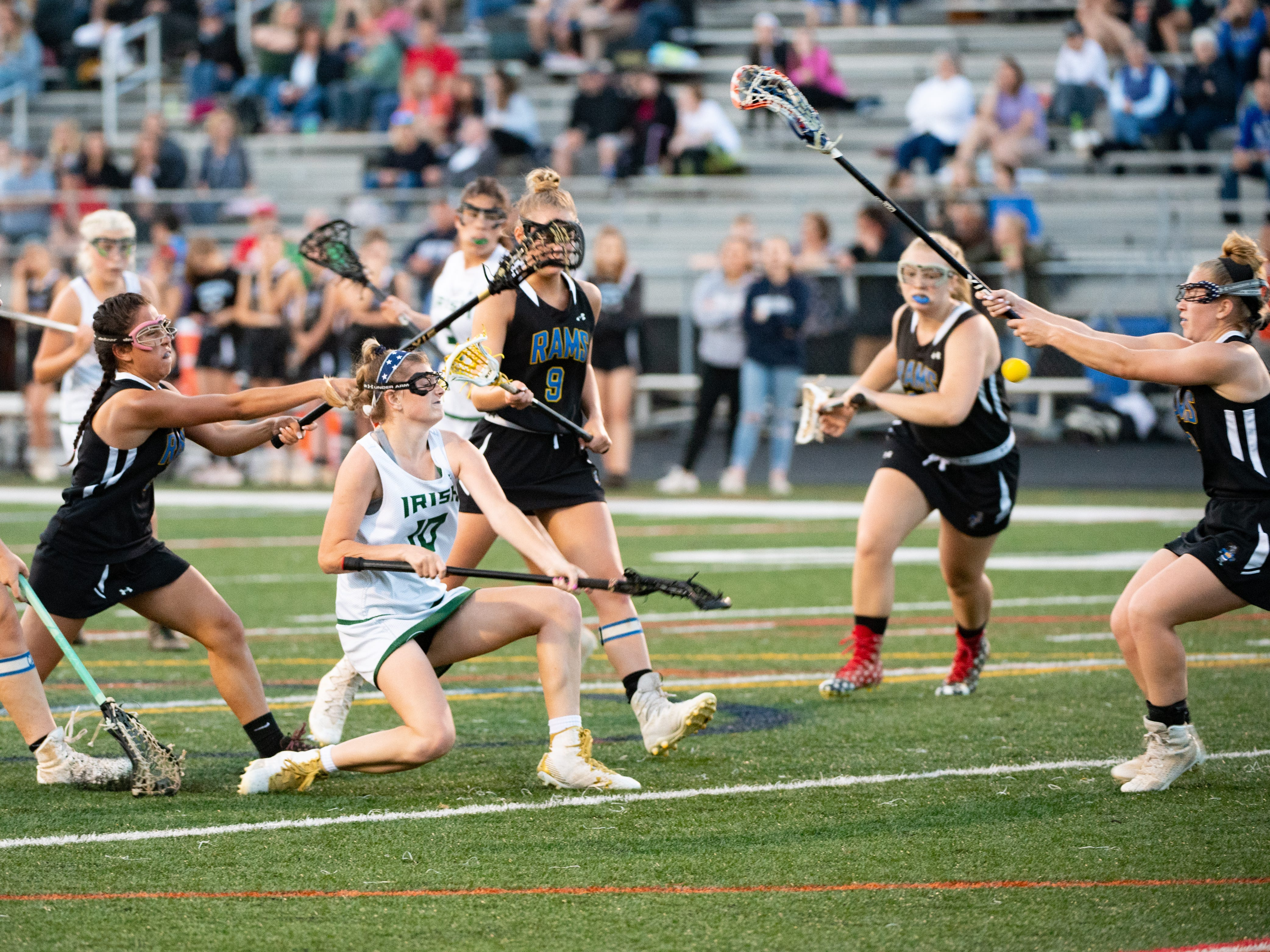 Sydney Mentzer (10) takes a shot during the YAIAA girls lacrosse championship game between York Catholic and Kennard-Dale, May 10, 2019 at Eastern York High School. The Rams defeated the Fighting Irish 11 to 10.