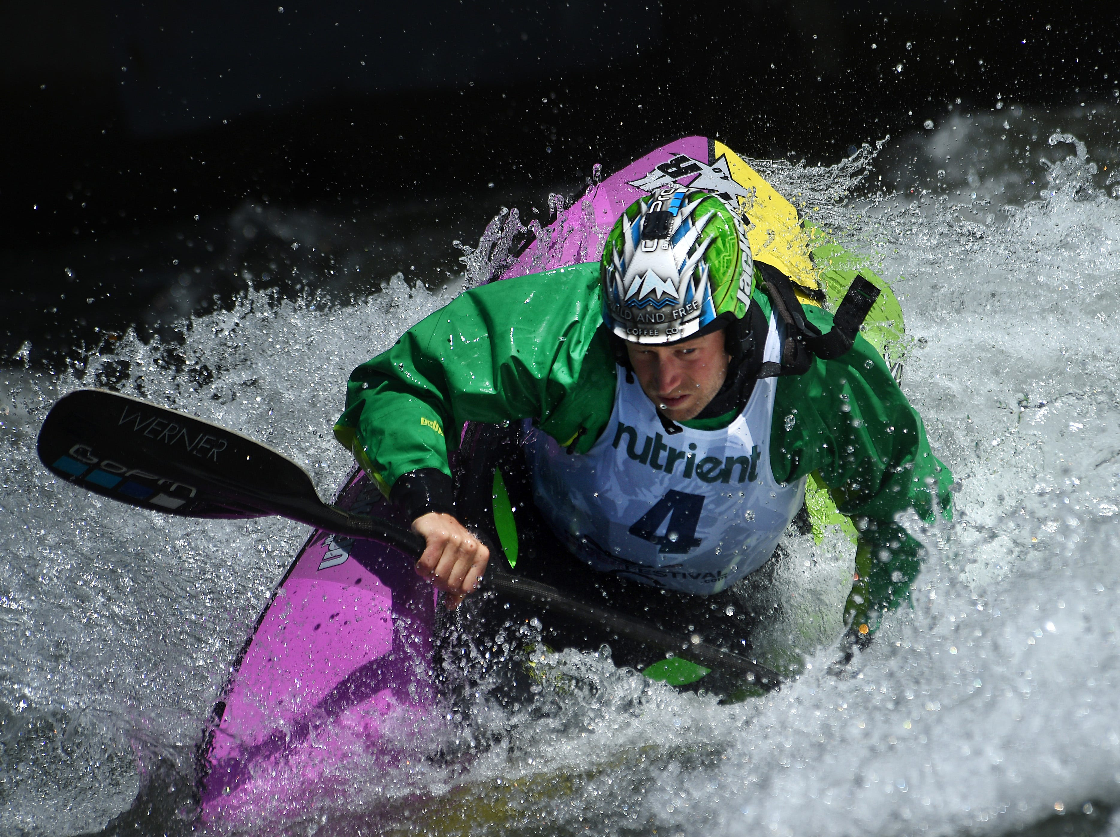 Nick Troutman competes in the men's freestyle event during the Reno River Festival on the Truckee River in Wingfield Park on May 11, 2019.