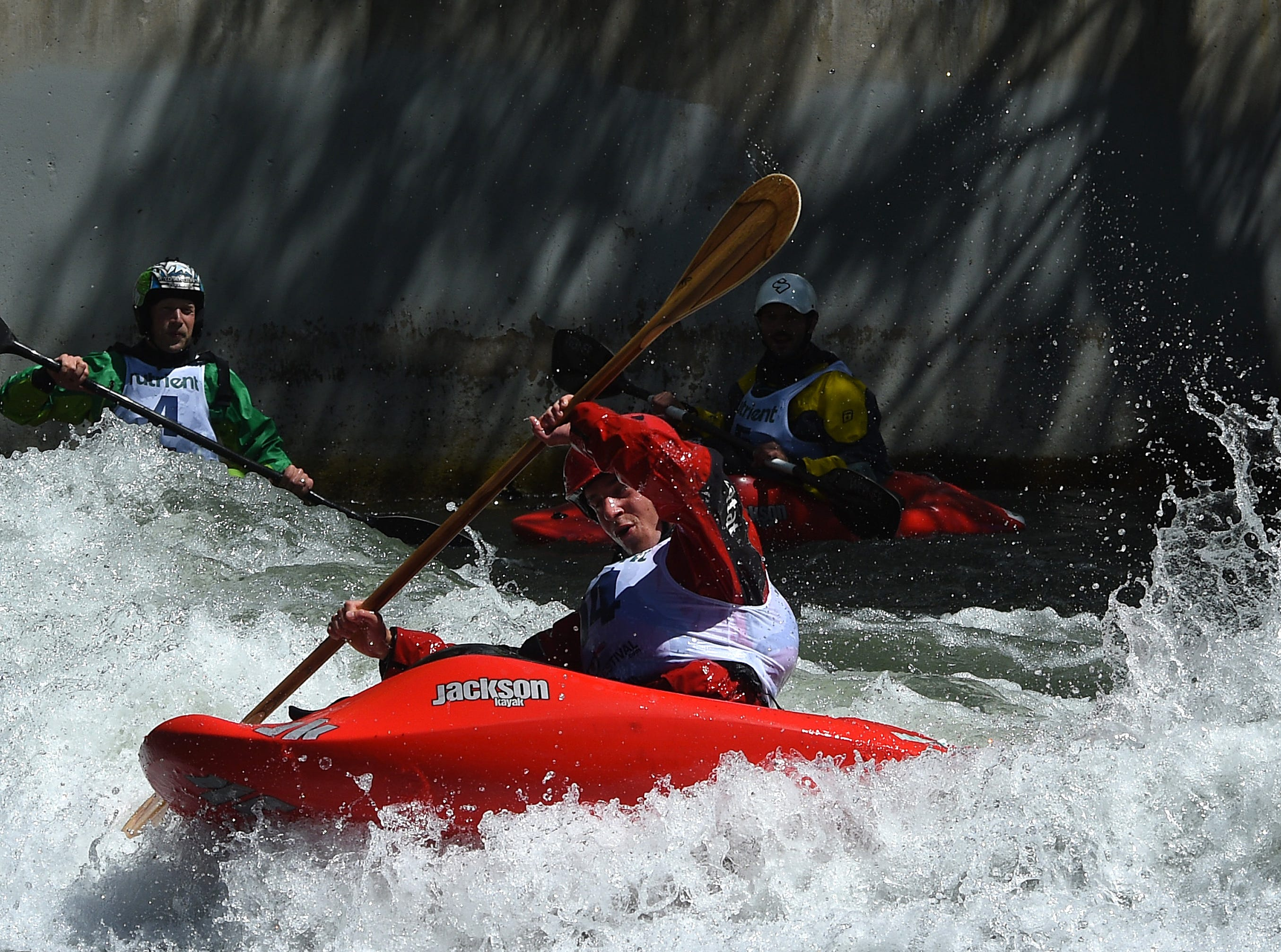 Jason Craig competes in the men's freestyle event during the Reno River Festival on the Truckee River in Wingfield Park on May 11, 2019.