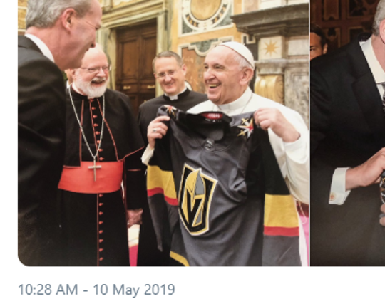 A tweet from the Vegas Golden Knights with a photo of Pope Francis accepting a gift custom jersey.