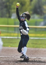 Pittsford Sutherland's Rachel Zielinski winds up a pitch during a game at Fairport High School, Saturday, May 11, 2019. Fairport beat Pittsford Sutherland 15-0.
