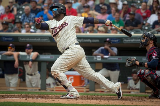 FILE - In this Aug. 1, 2018, file photo, Minnesota Twins' Miguel Sano bats against the Cleveland Indians in the seventh inning of a baseball game, in Minneapolis.