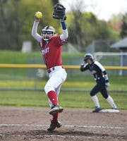 Fairport's Julia Mallow winds up a pitch against Pittsford Sutherland during a game at Fairport High School, Saturday, May 11, 2019. Fairport beat Pittsford Sutherland 15-0.