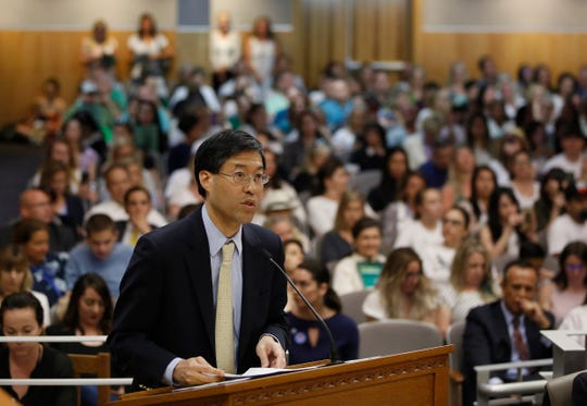 State Sen. Dr. Richard Pan, D-Sacramento, urges lawmakers to approve his proposal to give state public health officials instead of local doctors the power to decide which children can skip their shots before attending school.