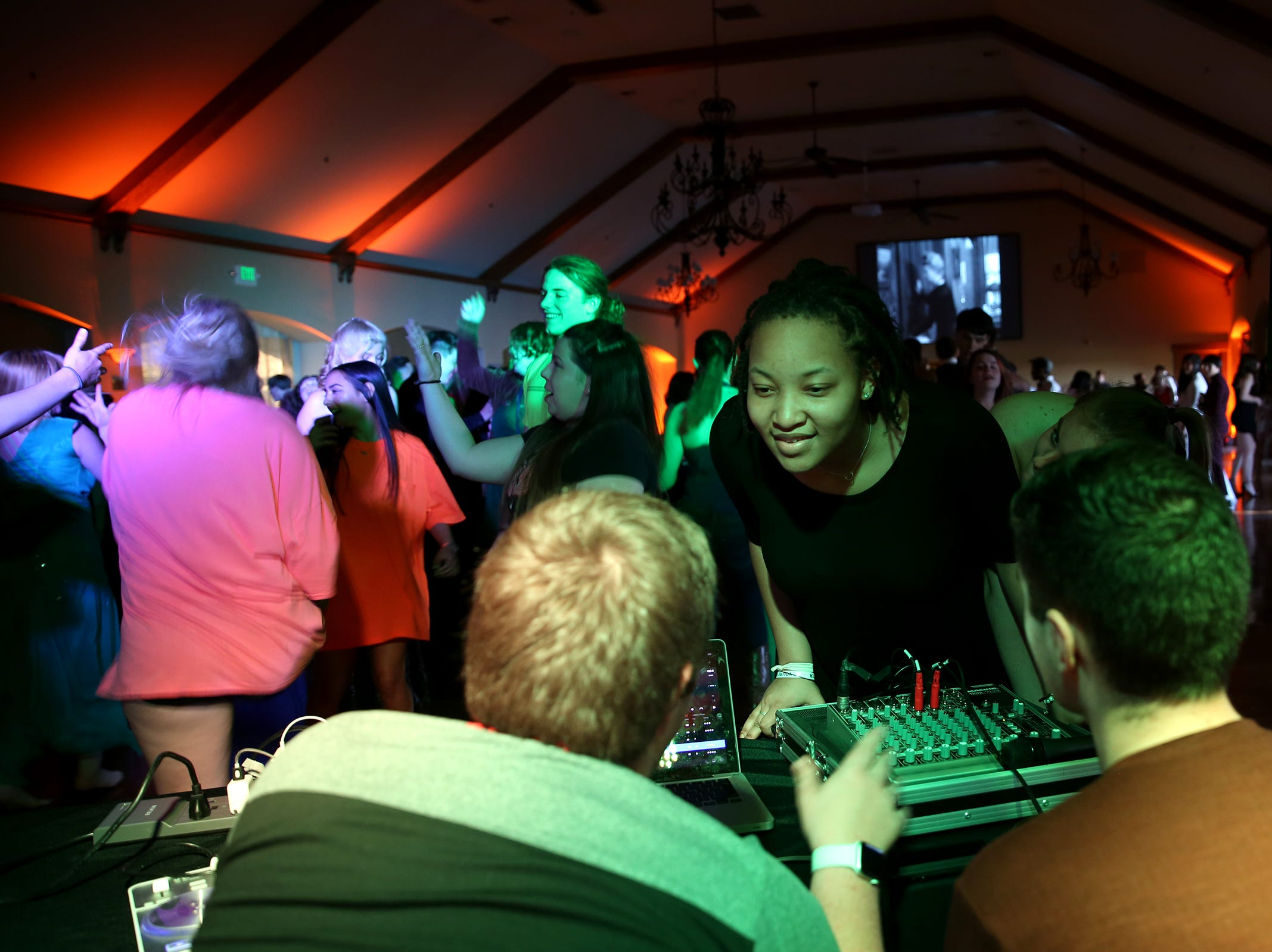 Students request songs during the Sprague High School prom at Zenith Vineyard in West Salem on May 10, 2019.