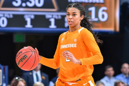 Former Tennessee guard Evina Westbrook (2), from South Salem, is transferring to basketball power UConn.
