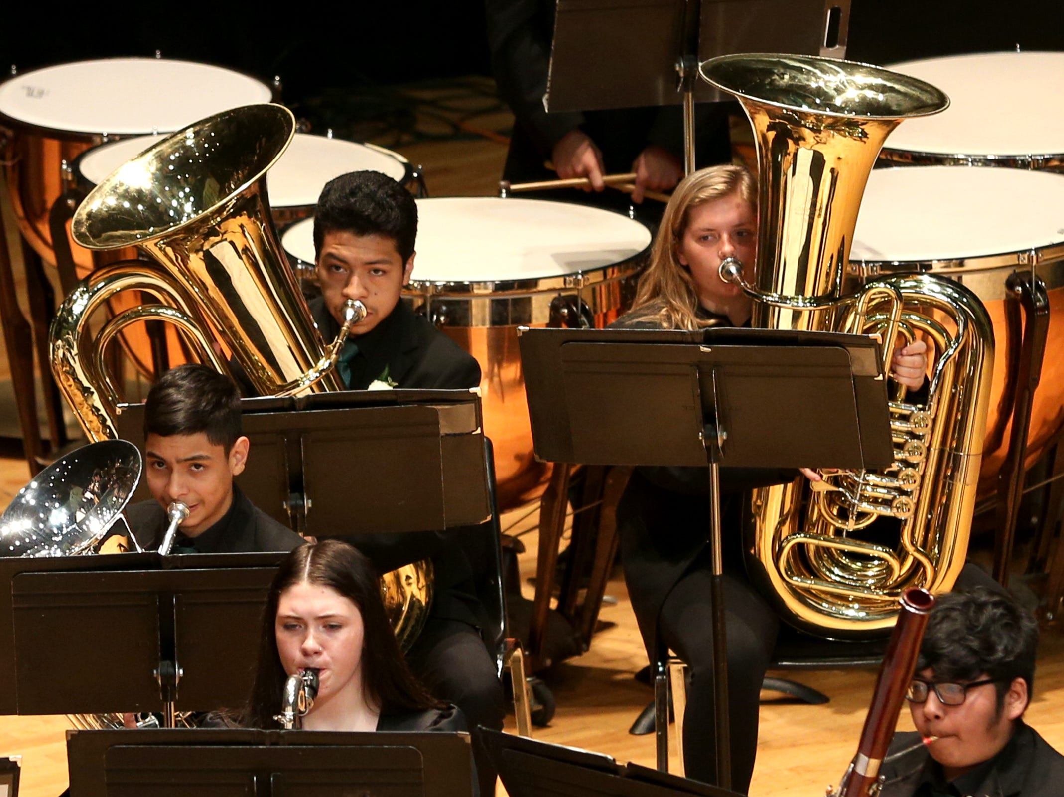 McKay High School's band, under the direction of JJ Meyer, performs at the OSAA 6A Band State Championships at Oregon State University in Corvallis on May 11, 2019.