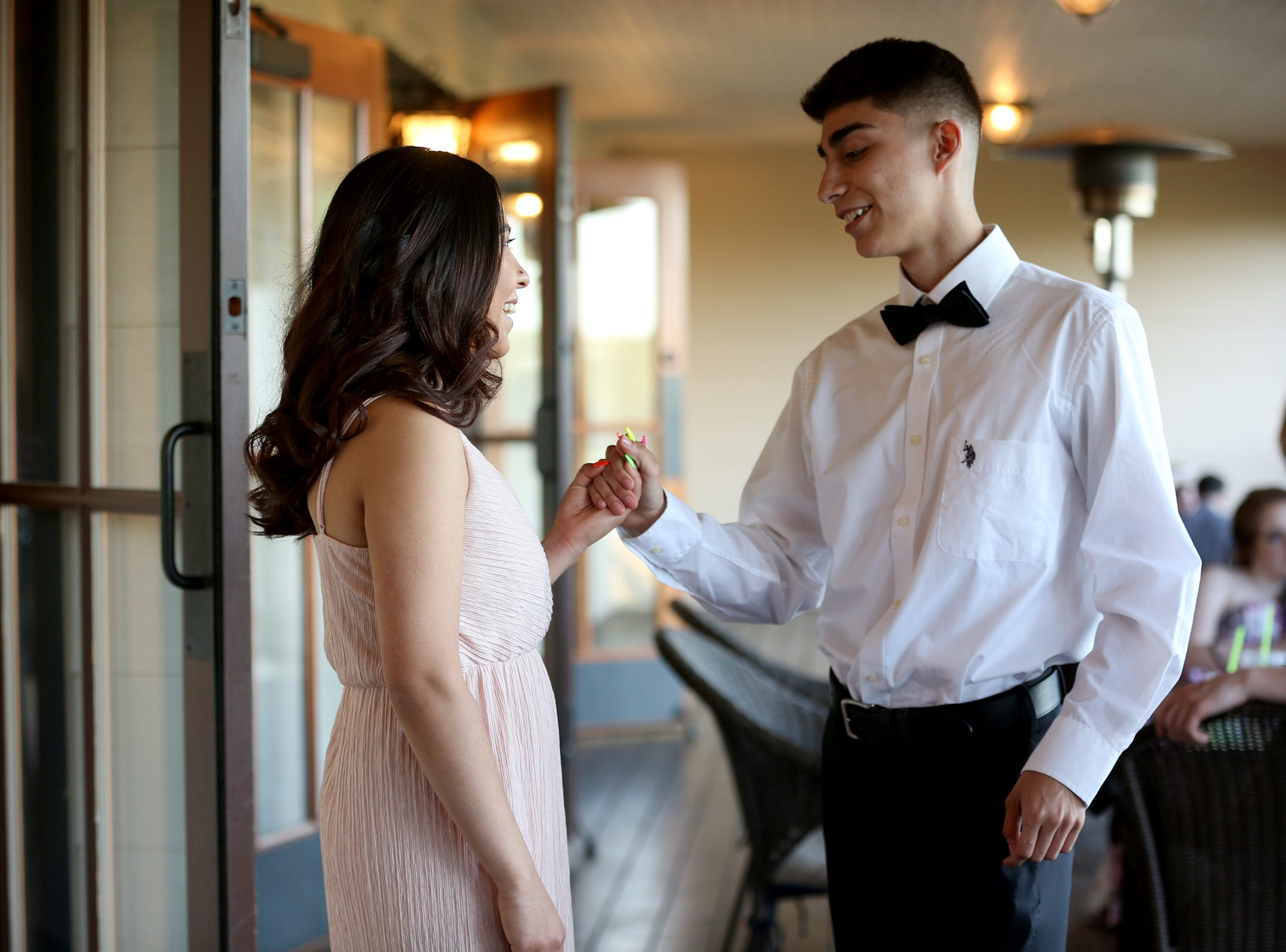 Students talk during the Sprague High School prom at Zenith Vineyard in West Salem on May 10, 2019.