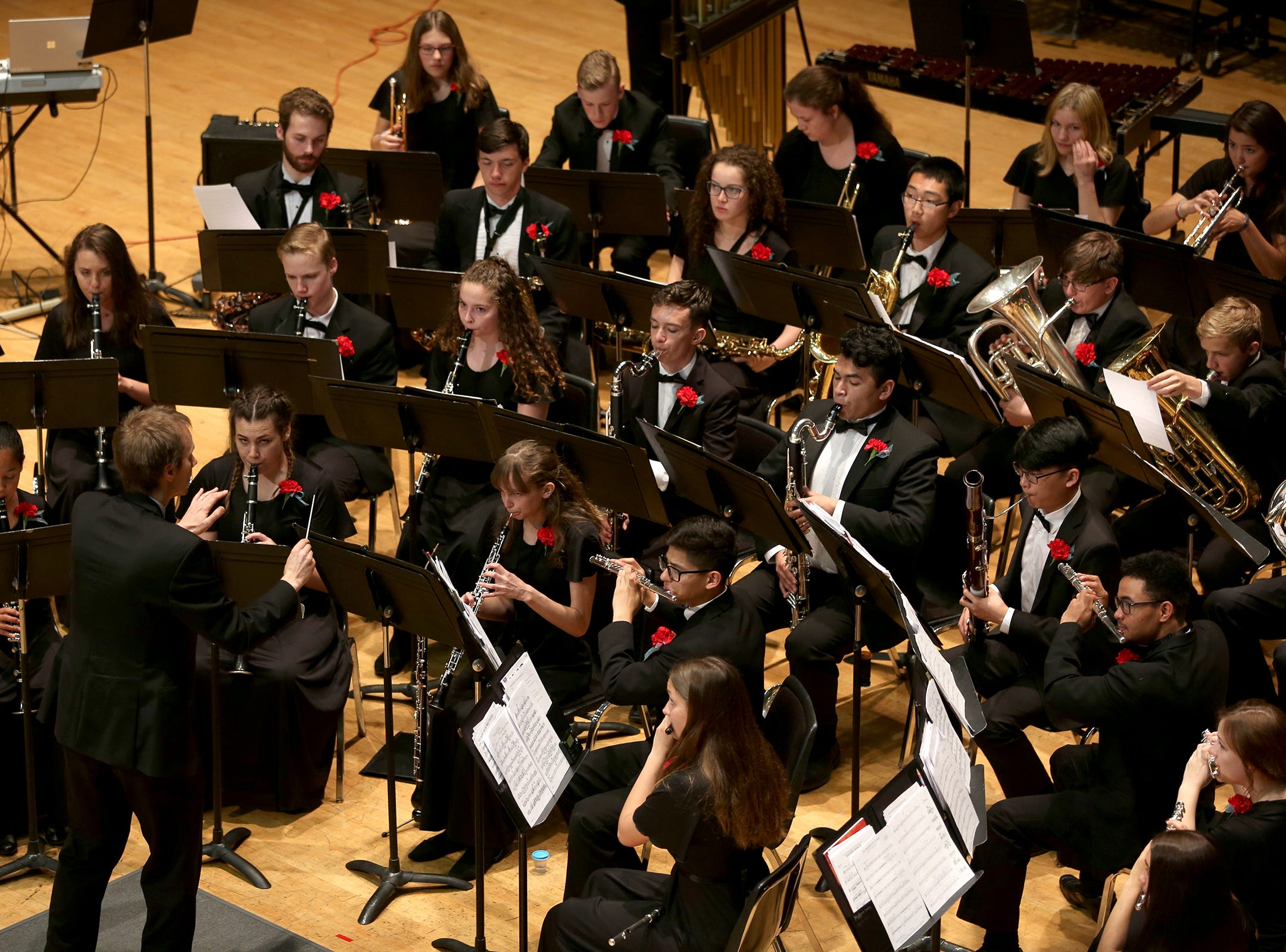 South Salem High School's band, under the direction of Ben Stokes, performs at the OSAA 6A Band State Championships at Oregon State University in Corvallis on May 11, 2019.