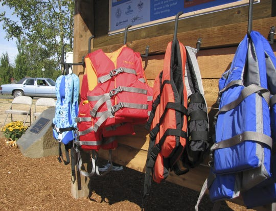 Life jackets hand in a row in Oregon.