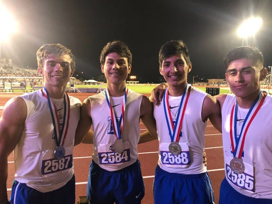 The Eden boys 4x400 relay finished second in Class 1A at the UIL State Track and Field Championships Friday, May 10, 2019, in Austin. They are: Austin Moya (from left to right), Eli Eureste, Ethan Saucedo and Donovan Gonzales.