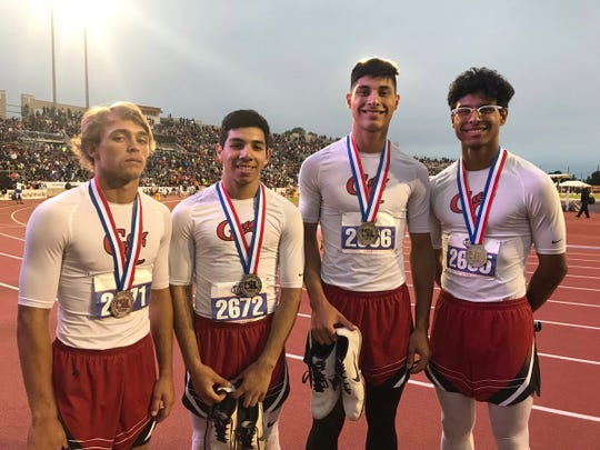 Garden City's Hunter McMillan (left to right), Cirildo Mier, JohnMichael Alegria and Amando Alegria finished second in the 1A boys 4x200 meter relay Friday, May 10, 2019, at the UIL State Track and Field Championships in Austin.