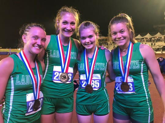 The Wall High School girls 4x400-meter relay is made up of Shaylee Shiller (from left to right), Jayden Fiebiger, Maci Beeles and Sawyer Lloyd. They ran a season-best time of 3:58.78 to get third in the Class 3A competition at the UIL State Track and Field Championships Friday May 10, 2019, at Mike A. Myers Stadium in Austin.